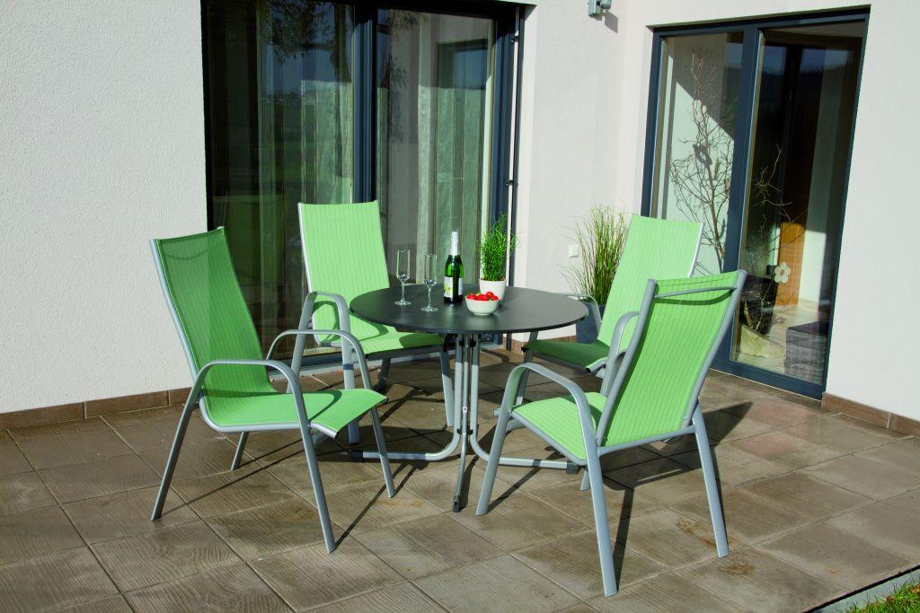 Balkonmobel Holz Gebraucht : STUHL ALCAMO GRÜN STREIF ALU