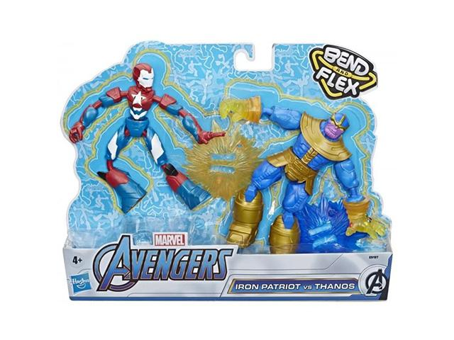 Hasbro Marvel Avengers Bend and Flex Iron Patriot vs. Thanos Doppelpack, 15 cm große, biegbare Act